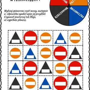 Części mowy Montessori – spinner