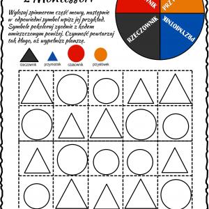 Części mowy Montessori – spinner 2
