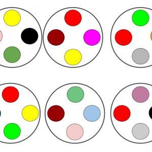 Kolorowe kółka do ćwiczeń spostrzegania.
